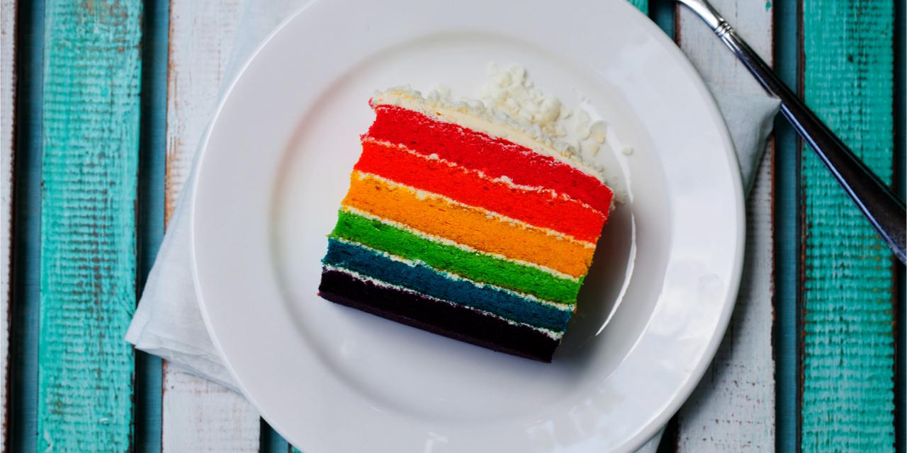 Colorful slice of wedding cake.