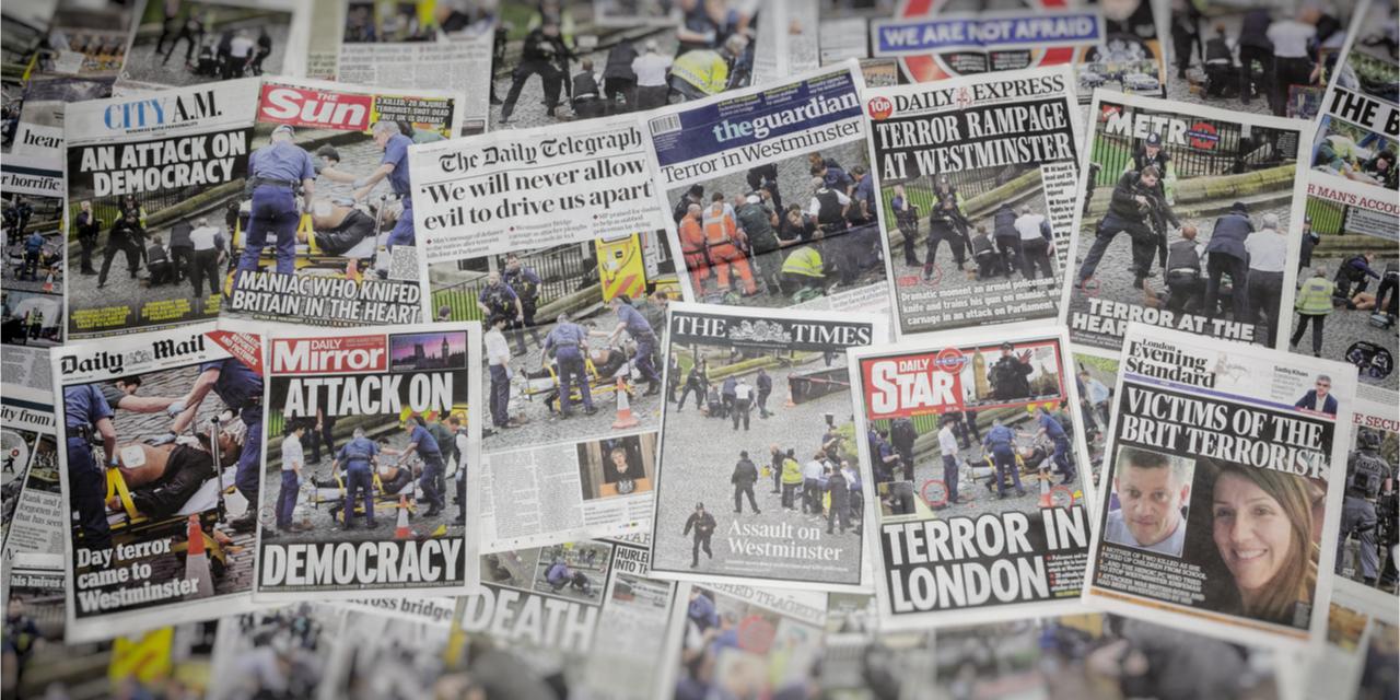 Horrific headlines from UK newspapers.