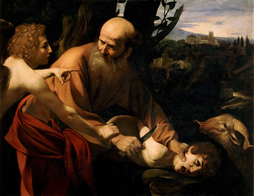 Abraham about to murder his son Isaac because God told him to.