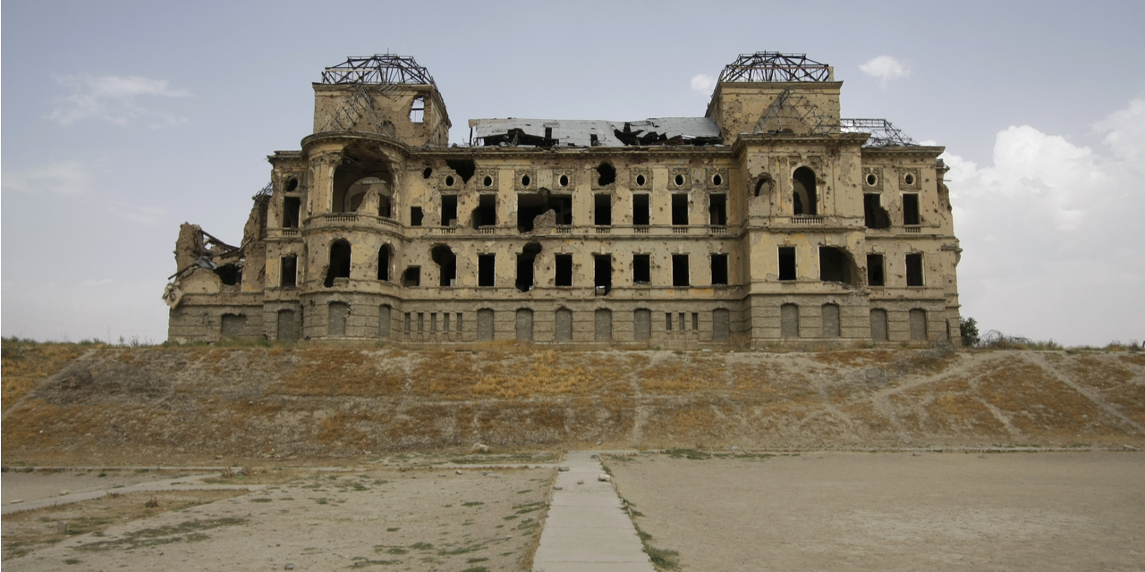 Ruined palace in Kabul, Afghanistan