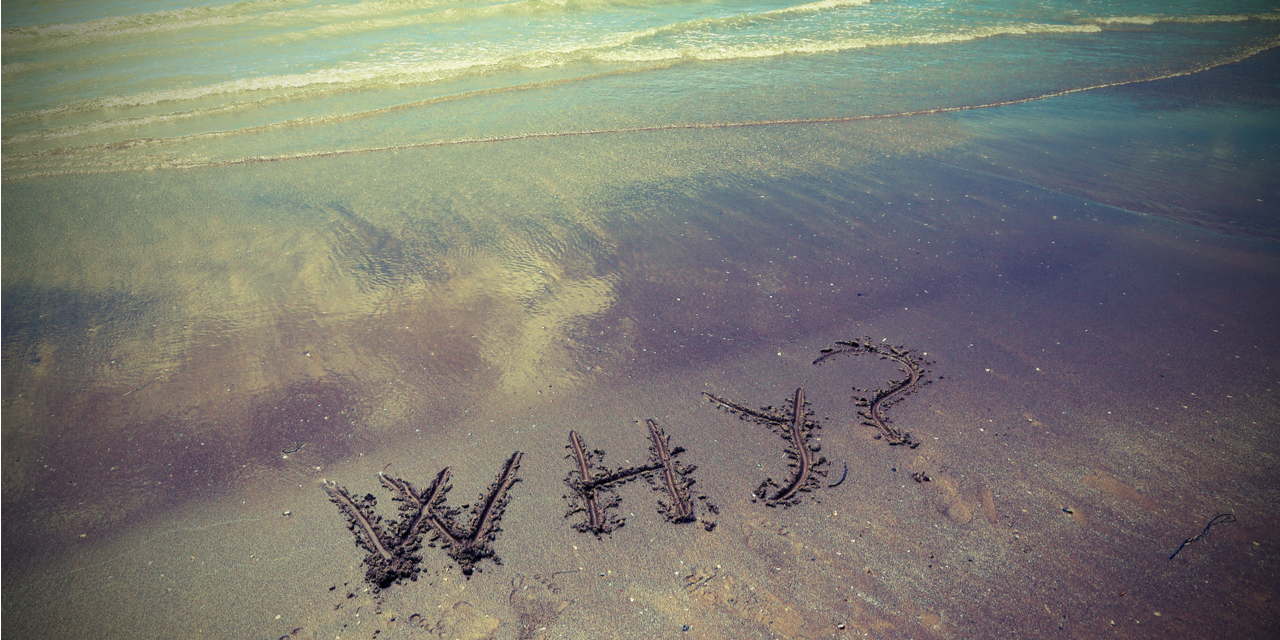 """Why"" written on sandy beach"