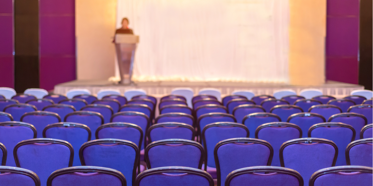 Speaker with empty audience