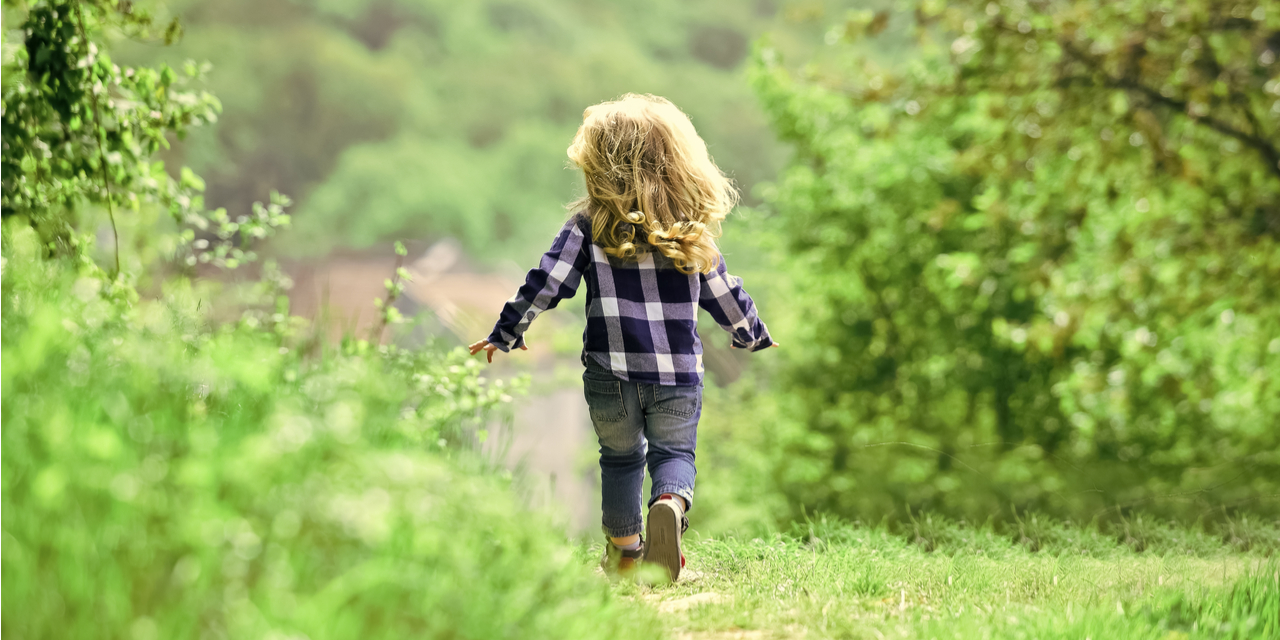 Girl exploring path