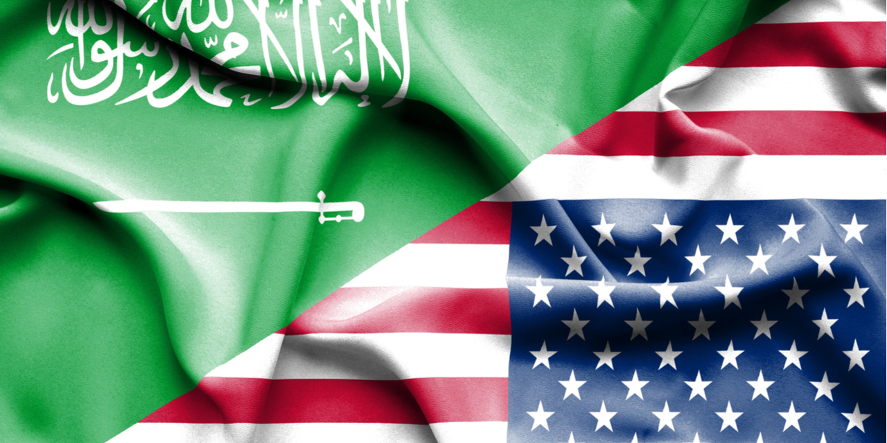 Saudi and US flags upside down