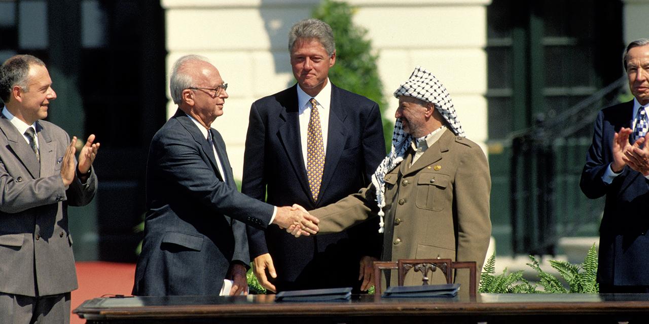 Clinton Arafat Rabin Oslo peace accord handshake