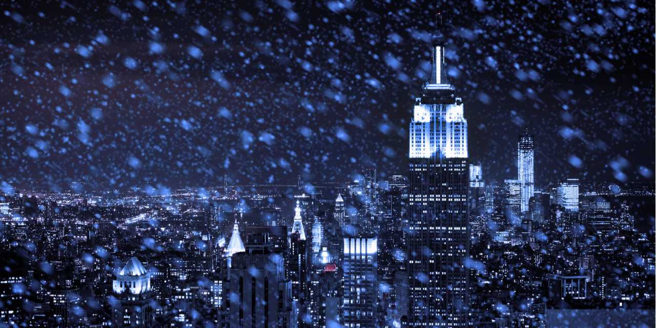 New York City skyline in snow