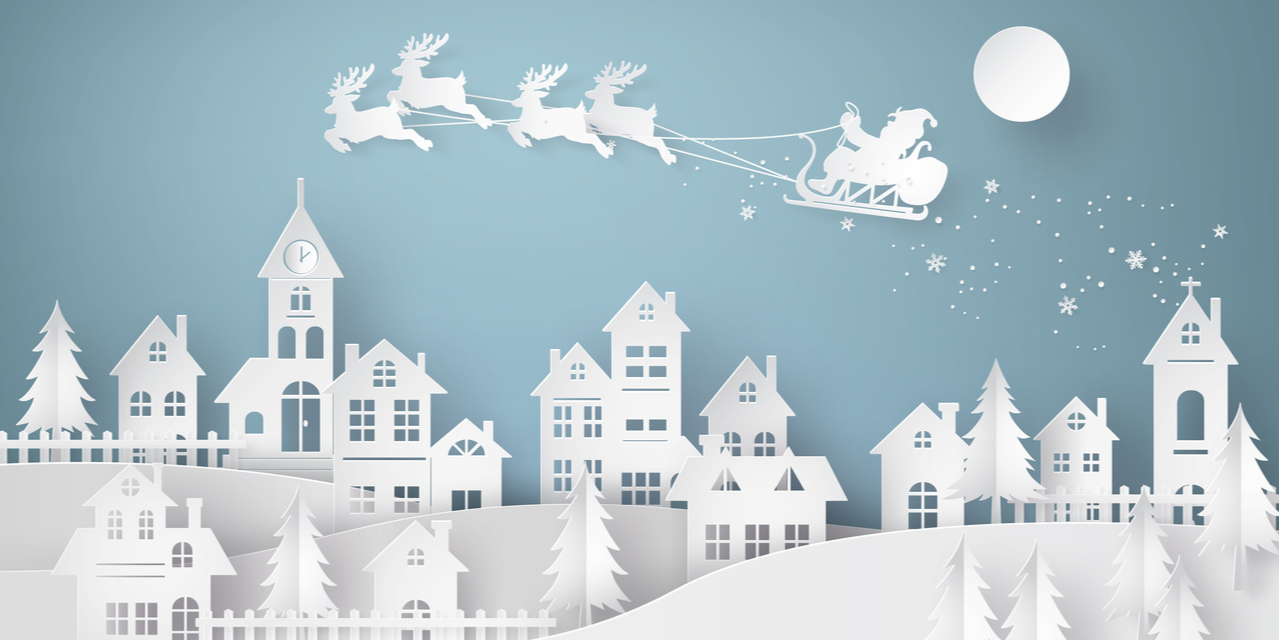 Santa reindeer paper cutout