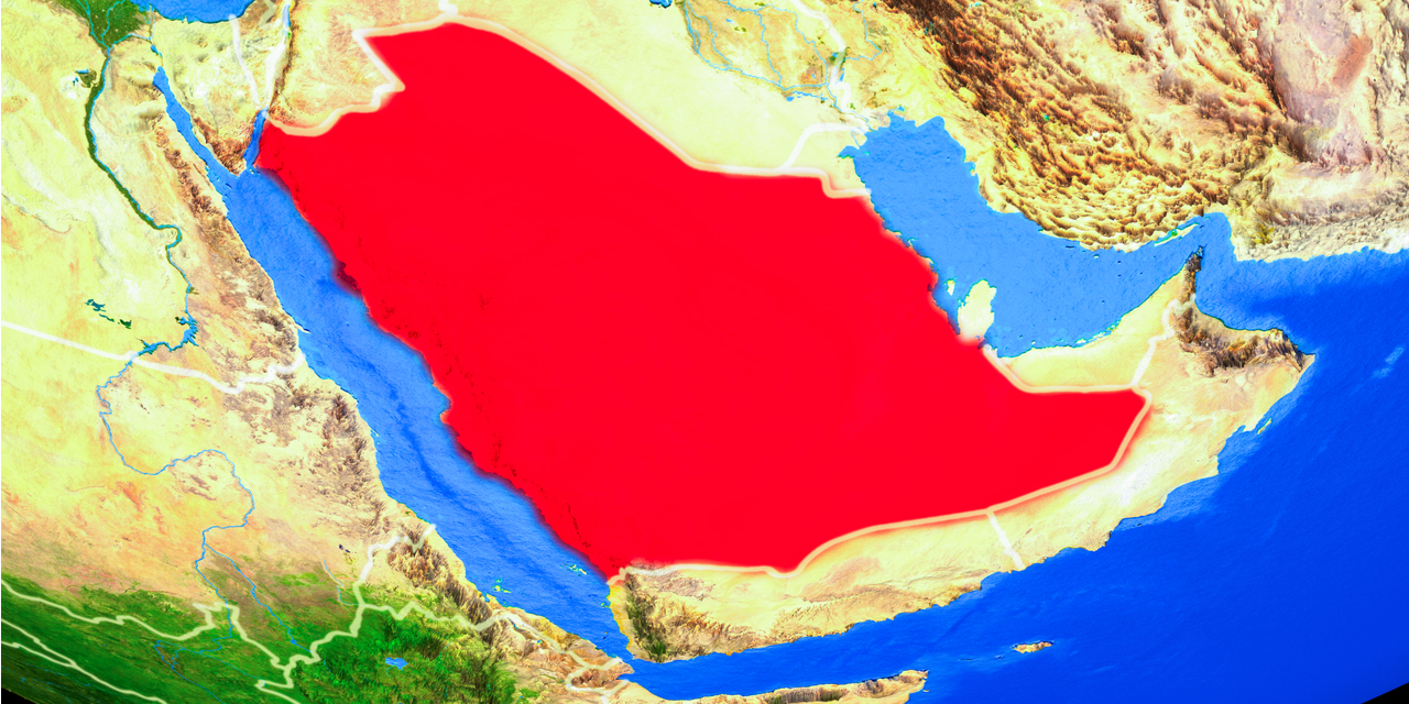 Saudi Arabia in red from space