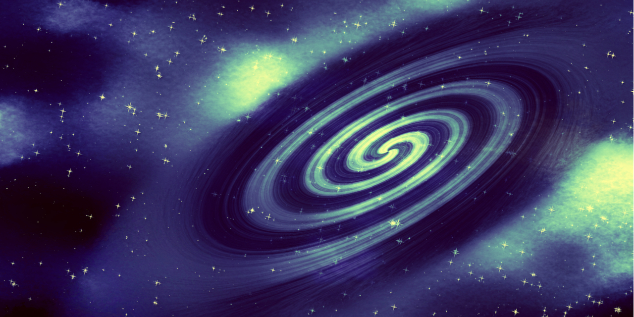 Gravitational waves space blue