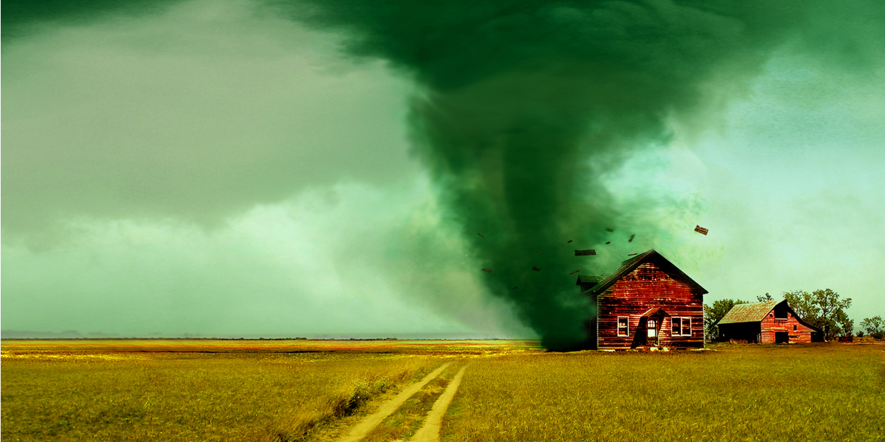 Tornado destroying house