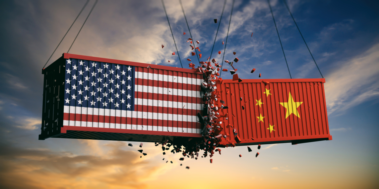 US China trade war - flag images on colliding shipping containers