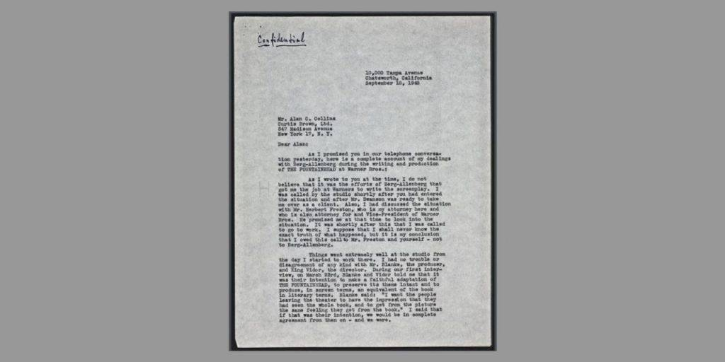 Front page of a typed letter by Ayn Rand
