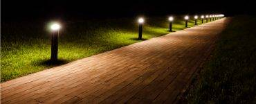 Lighted walkway at night