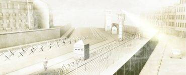 Berlin Wall death strip 3D rendering
