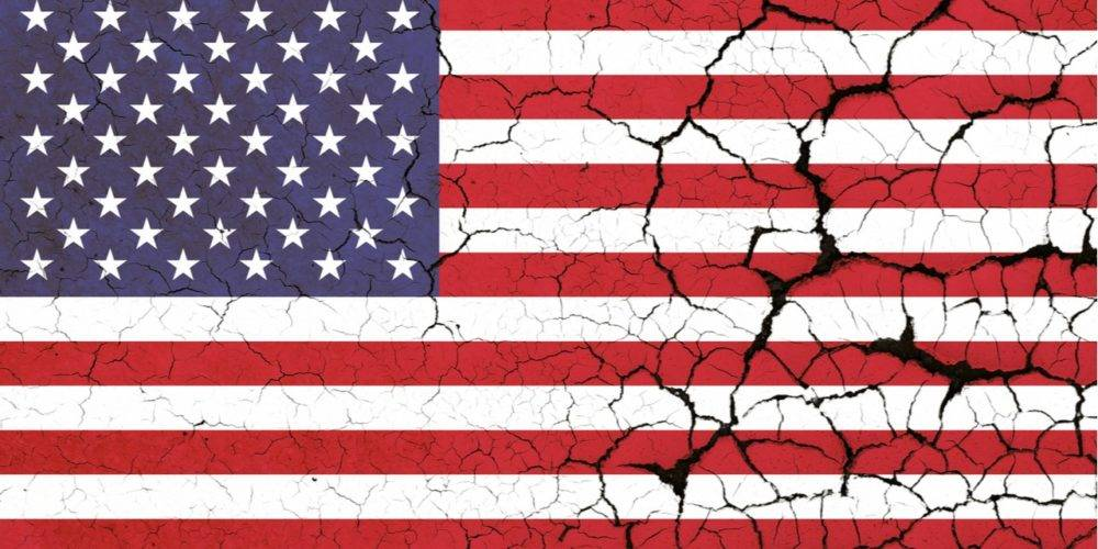 American flag dessicated, cracked