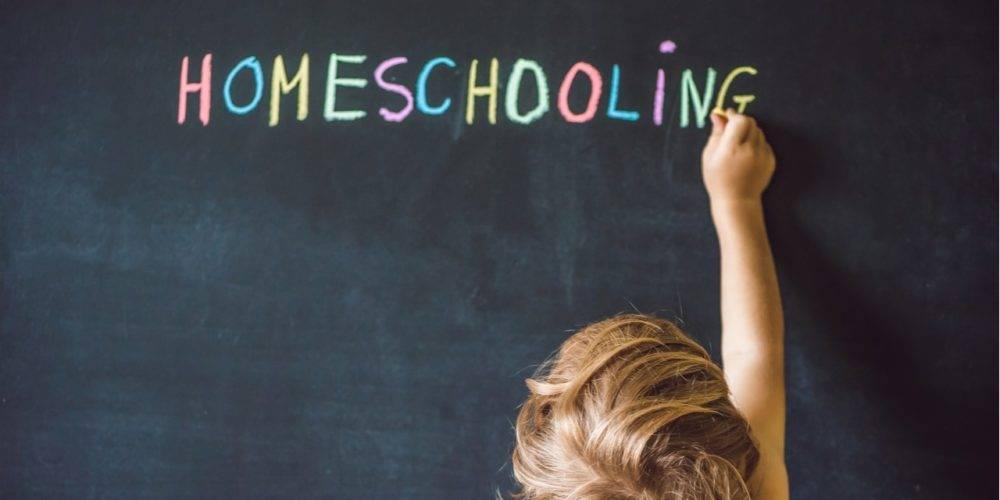 Homeschooling on chalkboard