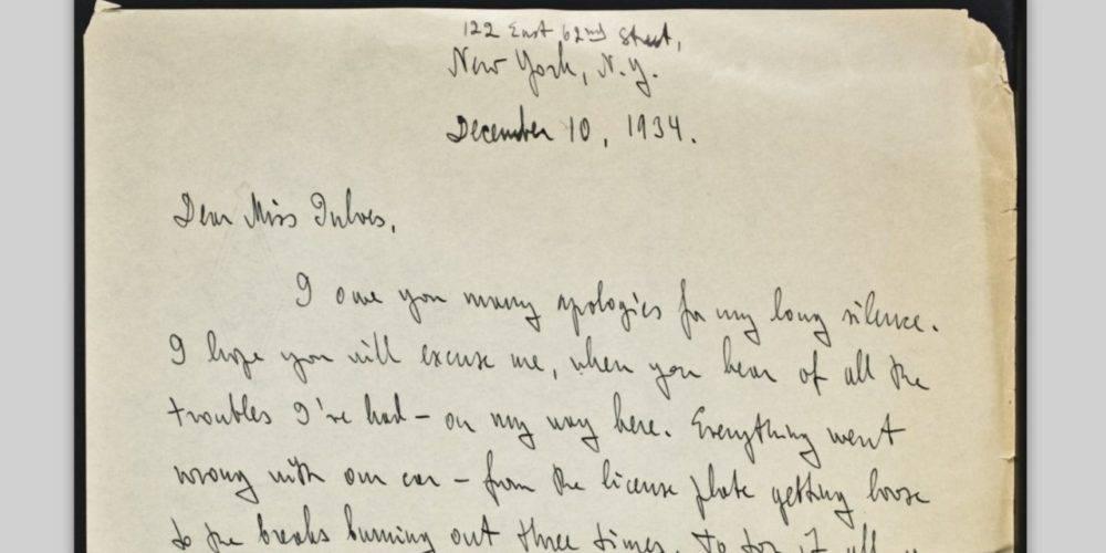 Ayn Rand handwritten letter