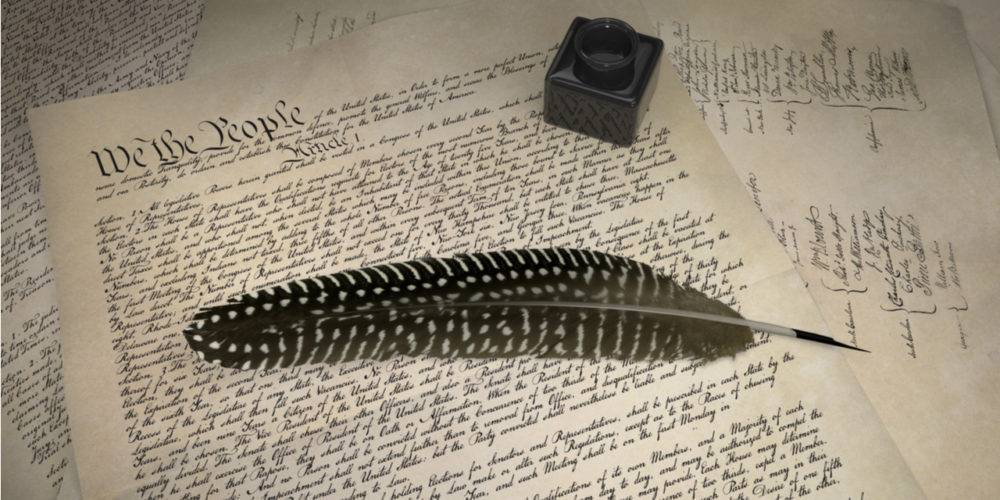 Constitution quill pen and inkpot