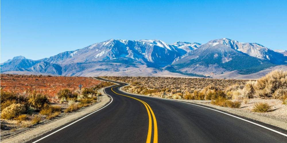 Open road to mountains