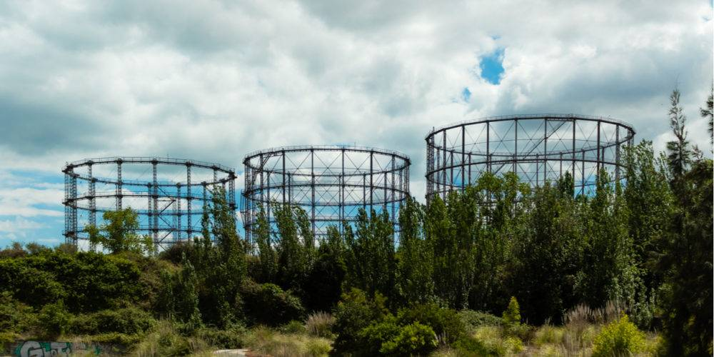 Abandoned derelict gas storage tanks