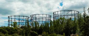 Abandoned derelict gas storage tanks