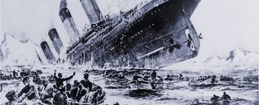 Titanic with lifeboats
