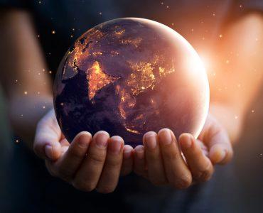 Globe held in two hands