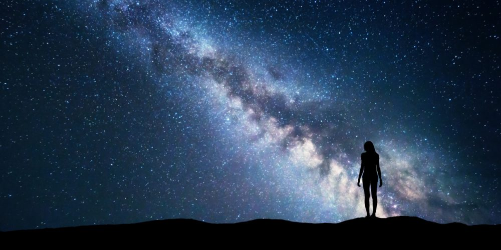 woman and Milky Way