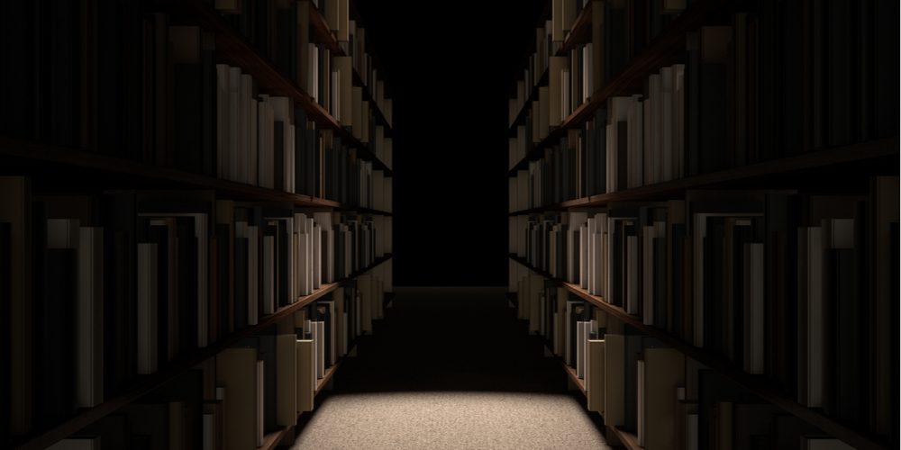 Dark library shelves